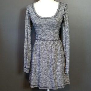ANTHROPOLOGIE Black & White Heathered Skater Dress